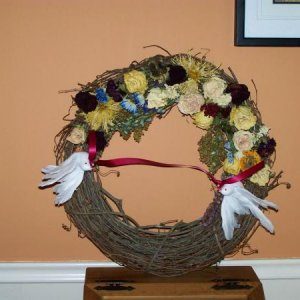 003wreath I made MIL out of FIL's flowers. dang upside down