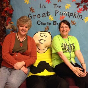 My BFF Shawn (on left). Me on right. Principal as Charlie Brown on Reading Night